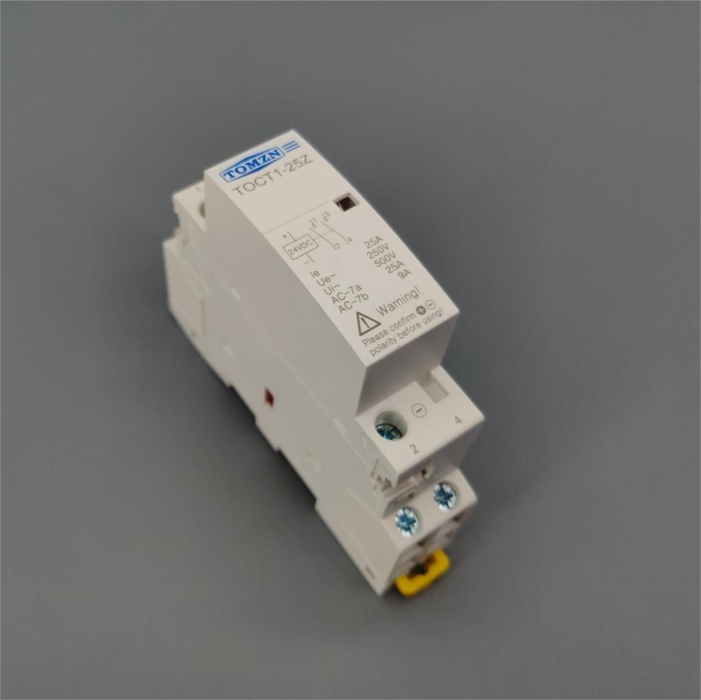 Toct1 2 p 25a dc 12 v 24 v bobina 220 v/230 v 50/60 hz din ferroviário casa ac contator modular 2no