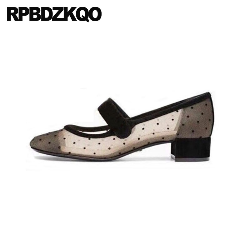 Sexy Polka Dot Evening 2018 Medium Heels Square Toe Black Strap Block Party Dress Shoes Women Mesh Size 4 34 Designer Fashion степлер sн486 скоба 24 6 сшивает до 20 листов светло серый 2631307