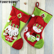 FUNNYBUNNY Hanging Christmas Candy Bag Xmas Sock Stocking Ornament Snowman Reindeer Pendant