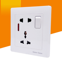 Multifunction 5 hole Wall Socket With LED Light Switch One Button PC Panel 13A 250V Universal Standard Power Outlet White