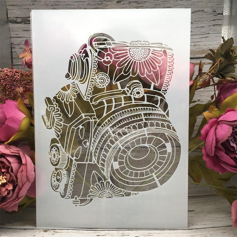 A4 29cm Camera 3D Sketch DIY Layering Stencils Wall Painting Scrapbook Coloring Embossing Album Decorative Paper Card Template