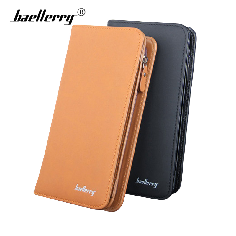 Baellery Durable Hard Men Wallet Clutch TOP Leather Male Zipper Clasp Purse Brand Mens Wallets Phone Money Bag Card Holder Black designer men wallets famous brand men long wallet clutch male money purses wrist strap wallet big capacity phone bag card holder