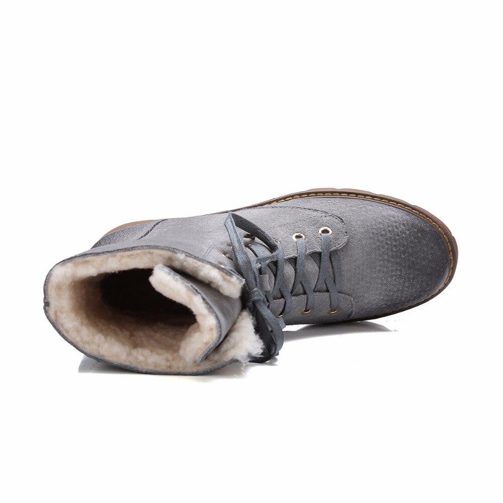 Peluche Femmes New gris Couleur Cheville Botte Cuir 2018 Dentelle Skid Chaud Hiver Courte Porc Marron Mix Anti up Peau Épais En Bottes Véritable Chunky Zy171028 De T1KlcJ3F