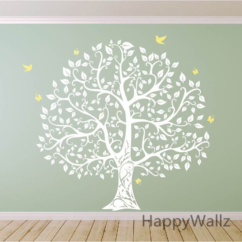 Grand arbre mur autocollant oiseau arbre mur Sticker bricolage décoration arbre généalogique mur autocollant arbre papier peint offre spéciale T17