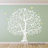 Grande adesivo de parede árvore decalque da parede da árvore do pássaro diy decoração adesivo de parede árvore genealógica árvore papel de parede hot venda t17