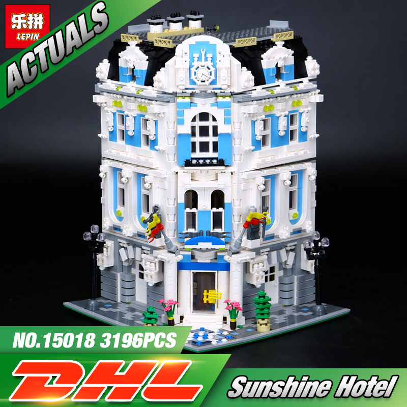 New 3196pcs Lepin 15018 MOC City Series The Sunshine Hotel Set Building Blocks Bricks Educational Toys laete 15018