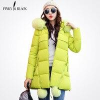 Pinky Is Black Winter Jacket Women Slim Long Cotton Padded Hooded Jacket Parka Female Wadded Jacket