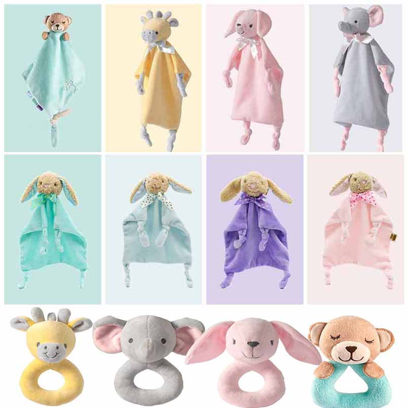 Newborn Cartoon Baby Boy Girl Rattles Infant Animal Hand Bell Kid Plush Toy Development Gifts Toddler Baby Toys 0-12 Months