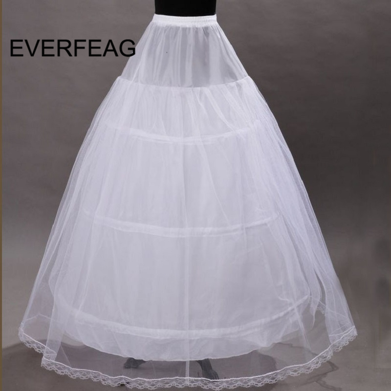 Cheap 3 Hoop Petticoat For Wedding Dress Elastic Waist Wedding Bridal Gown Drawstring Dress Underskirt Crinoline 2019