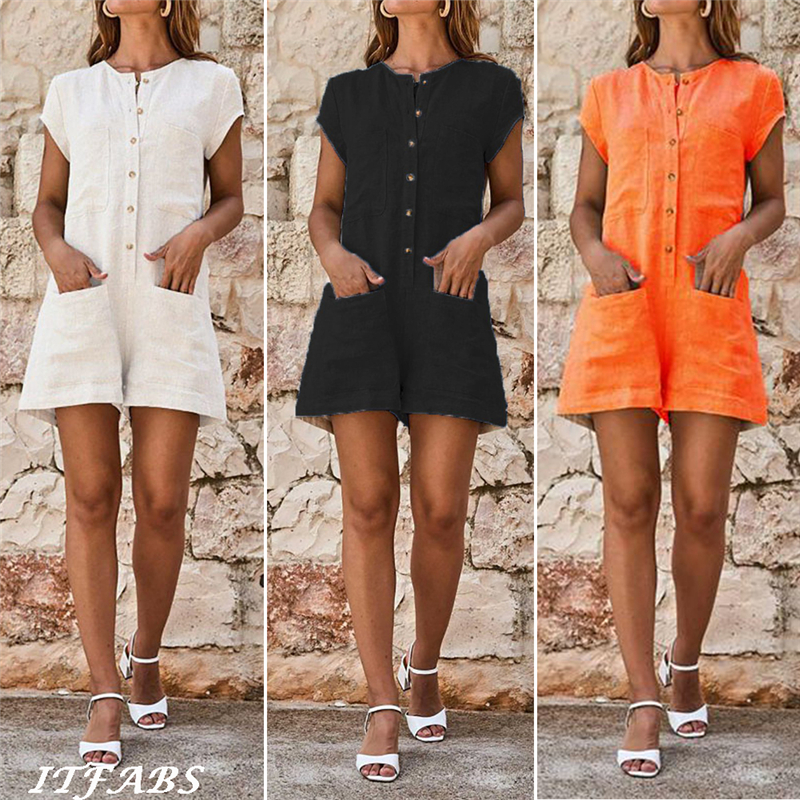 Arrival Women's Clubwear Holiday Summer Mini Playsuit Button Pocket Solid Romper Beach Shorts S-5XL Plus Size