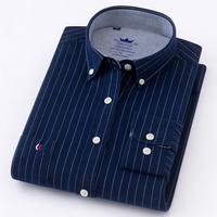 2018 New Arrived long sleeve   shirt   men Cotton camisa social Oxford Men's   Shirts   Men's dress   shirt   male striped Casual   Shirt   5XL