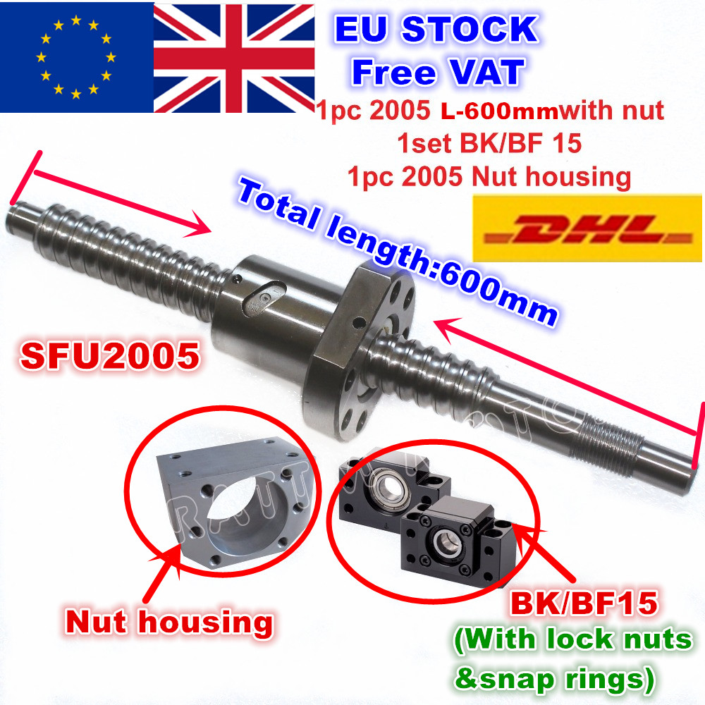 [EU Stock/Free VAT] SFU2005 600mm / 800mm /1000mm Ballscrew +2005 Ballnut + BK/BF15 End Support + Nut Housing For CNC Machine