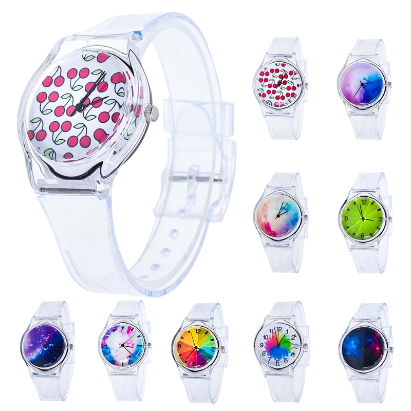 Clear Silicone Multicolor Rainbow Dial Wristwatch Quartz Round Watch Kids Women