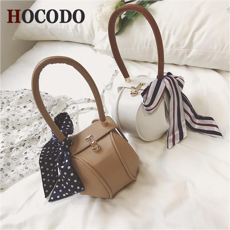 HOCODO Retro Style PU Leather Women Handbag Scarves Fashion Mini Ravioli Small Bag Designer Brand Luxury Handbags Party Clutch