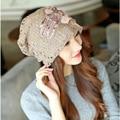 women turtleneck hat,women  winter Lace Cap, double flowers hat. Ladies fashion warm windproof hat,Ladies lace openwork hat