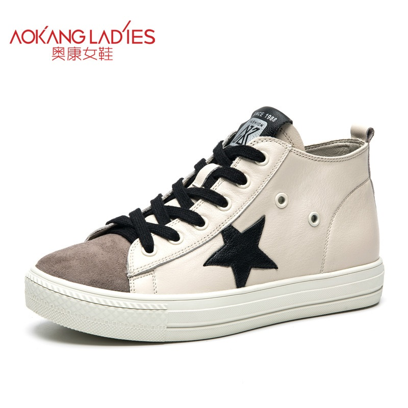 AOKANG 2017 New Women Shoes Casual 100% Genuine Leather Oxford Shoes For Women Flat Shoes Ladies Shoes Loafers Zapatos Mujer 2017 hot fashion loafers women casual shoes new breathable mesh flat platform women comfortable wedges heels shoes zapatos mujer