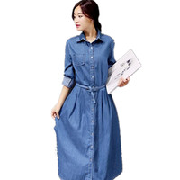 Women Denim Dress 2017 New Spring Fashion Long Sleeve Elegant Tunic Office Party Dresses Casual Jeans
