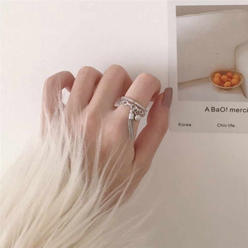Silver Color Ethnic Opening Ring with a pendant Tassel Women Jewelry Anel for Girl's Gift Metal Retro Personality Rings X7-M2