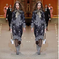 2018 Fashion Week front cover women tweed jacket and skirt 2 piece set plus size 5XL 6XL suit amazing sequin swallow gird jacket