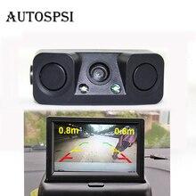 AUTOSPSI Car Rear View Reverse Radar Detectors Backup Camera With 2 Parking Sensors Night Vision Waterproof
