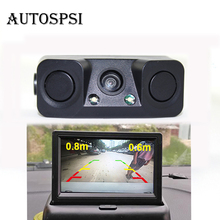 AUTOSPSI Car Rear View Reverse Radar Detectors Backup Camera With 2 Parking Sensors Night Vision Waterproof