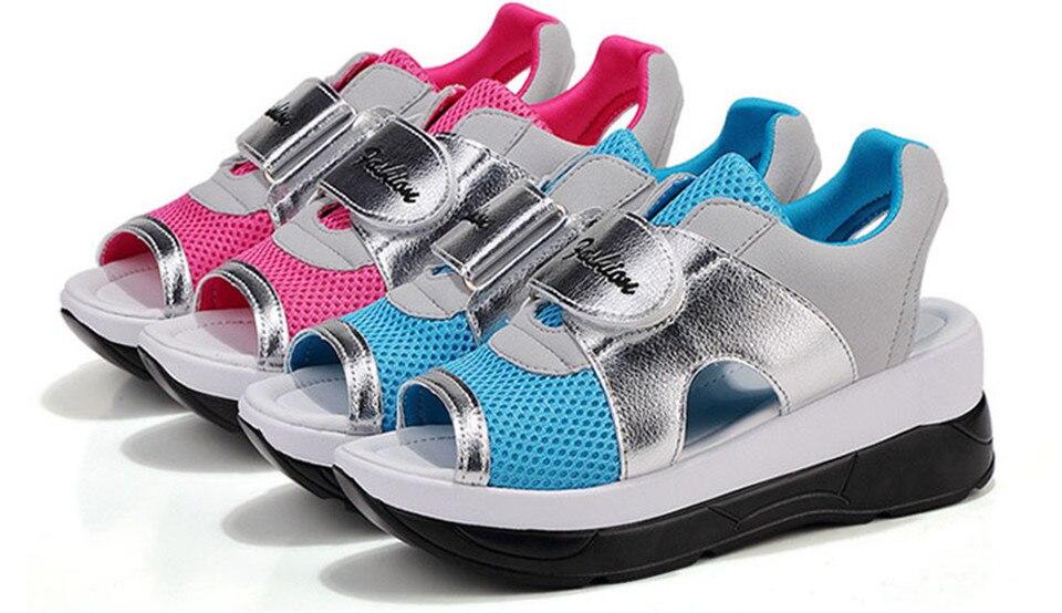 Женские сандалии на танкетке lin king дышащие туфли с открытым