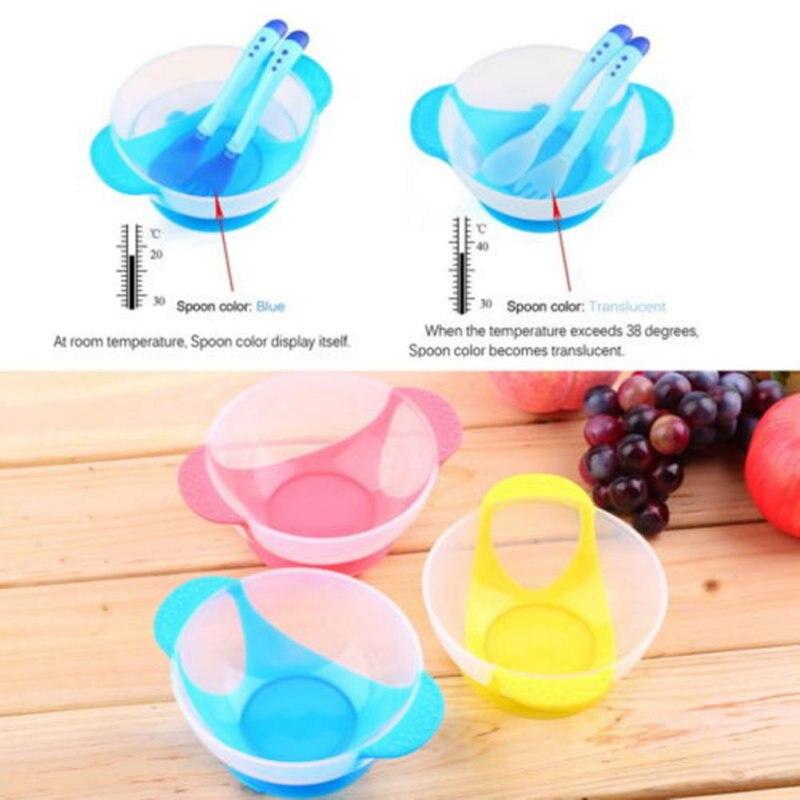 Newborn Baby Suction Cup Bowl Slip-resistant Tableware Temperature Sensing Spoon Set Kids Children Training Bowl Set 3 Style