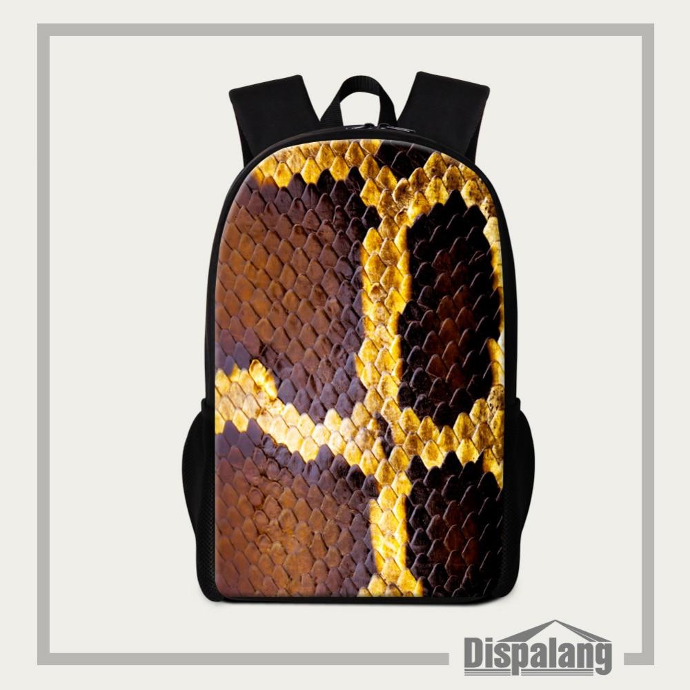 Dispalang School Bags For Teenagers Cool Snakeskin Printing Women Men Backpacks Travel Rucksack Female Backbag Mochila Feminina