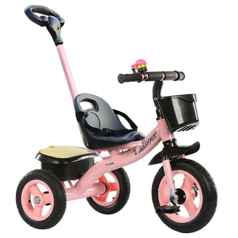 Портативный углеродистая сталь детский трехколесный велосипед ручной толчок три колеса коляска детский трехколесный велосипед детская те