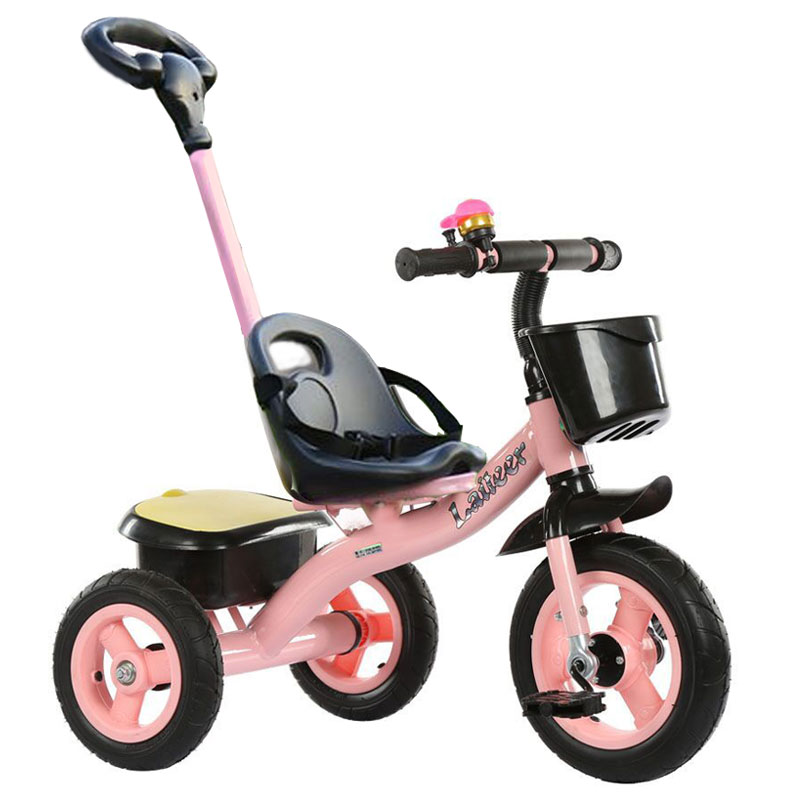 Portable Carbon Steel Children's Tricycle Bicycle Bike Hand Push Three Wheels Stroller Child Tricycle Baby Trolley Cart Trike three wheels portable foldable baby stroller travel trike carbon steel tricycle bike handbar pushchair child walker pram buggy