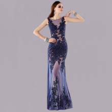 Vnaix E2093 Fashionable ScoopTulle Applique Open Back See Through A Line Beaded Sexy Royal Blue Long Lace 2015 Evening Dresses