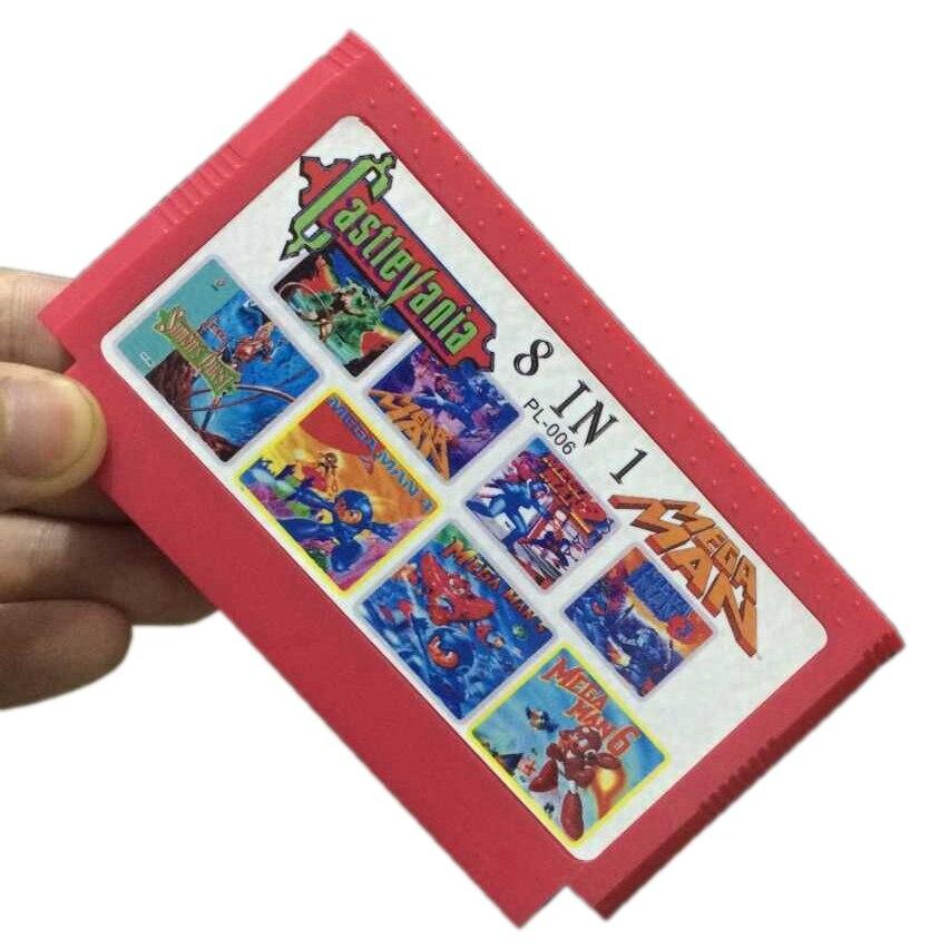 ¡Super Deal 8 en 1 cartucho de juego con Megaman 1/2/3/4/5/6 + Castlevania 1/2 8bit tarjeta de juego envío directo!