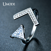 UMODE Brand New FashionTriangle V Shaped Simulated Diamond Rings For Women Jewelry Special Crystal Ring Aneis Bague Gift AUR0213