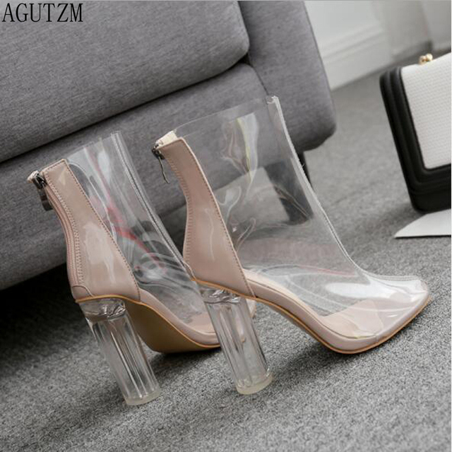 22c42d9b6a1 US $25.7 32% OFF|AGUTZM New PVC Transparent Boots 2018 Chelsea Boots Shoes  Clear Chunky heels heel Women Boots V636-in Mid-Calf Boots from Shoes on ...