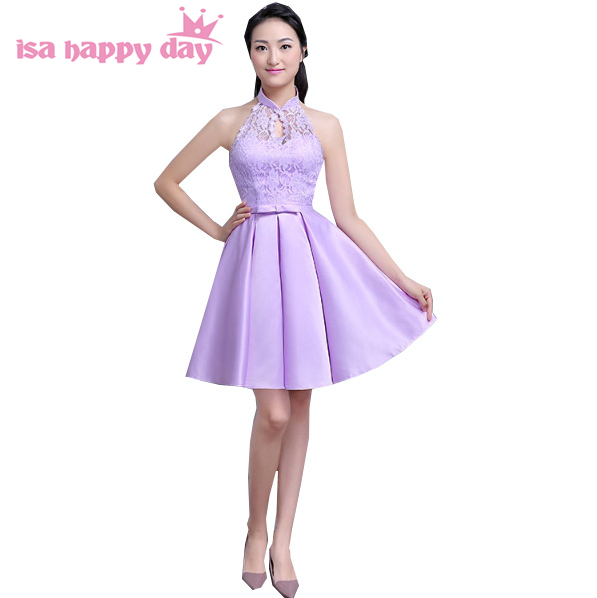 Robe De Soiree 2017 Halter Mesh Lavender Bridesmaid Bridemaid Dress Short Formal Purple Bridesmaids Dresses For