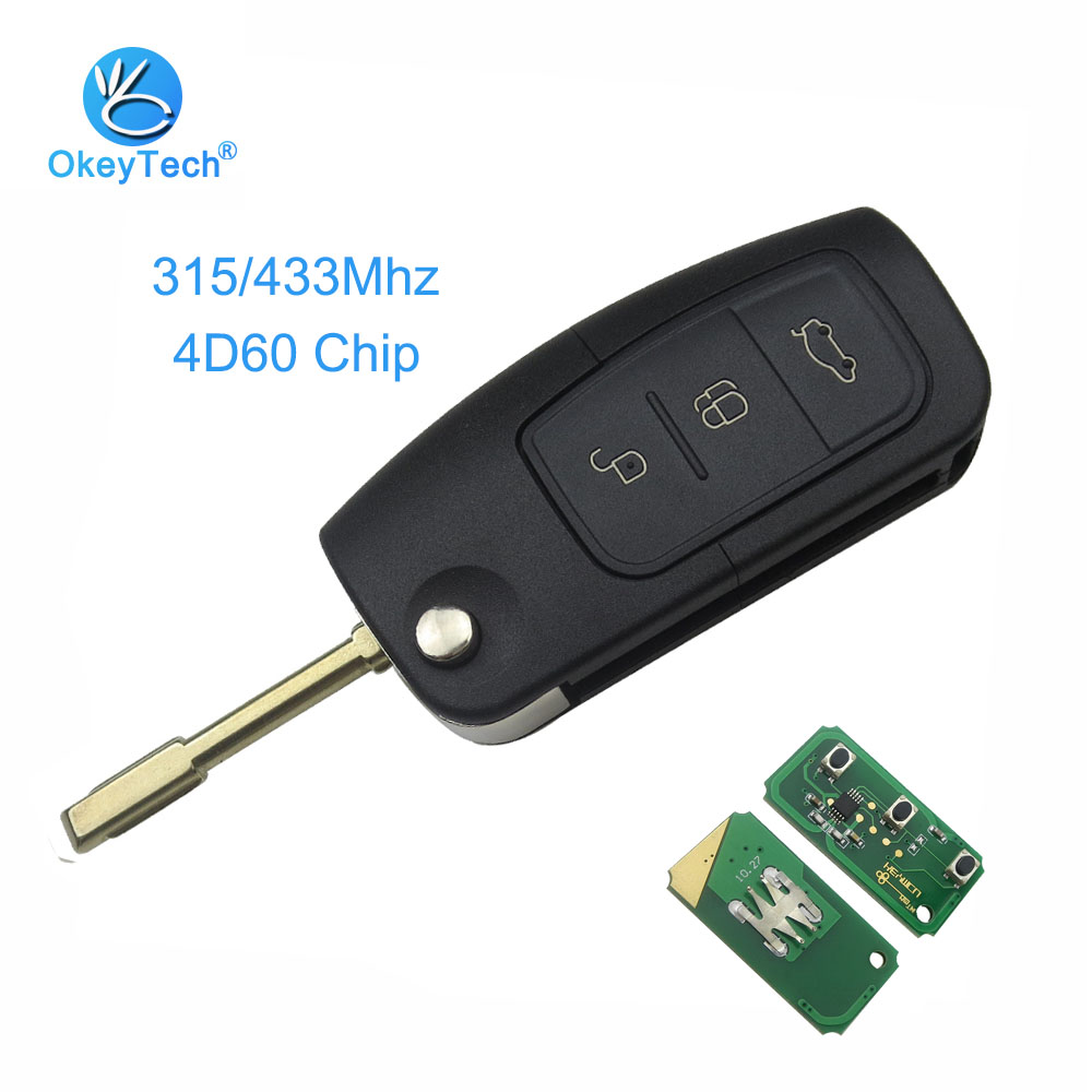 OkeyTech 315/433MHz Switchable 4D60 Chip FO21 Blade 3 Button Flip Folding Remote Control Key for Ford Fusion Focus Mondeo Fiesta