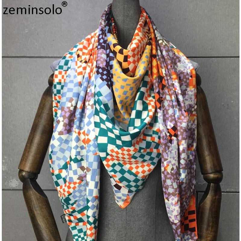 100% Twill Silk Scarf Women Plaid Print Shawl Echarpe Fourlard Femme Square Women's Scarves Bandanas Bufandas Mujer 130*130cm