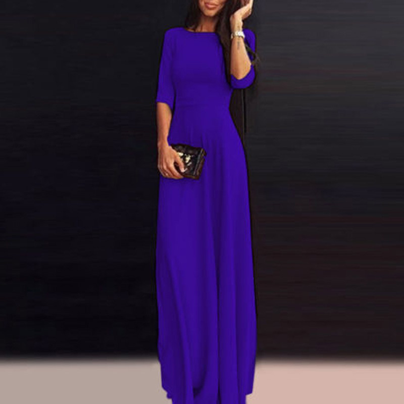 Maxi Dress Womens Long Chiffon 3/4 Sleeve Evening Formal Party Gown Dresses 2018 ...