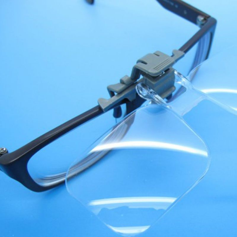 Glasses Magnifier Folding Clip On Loupe Eyeglass Lens Clear Lens 2X Magnifying Glasses Magnifier Reading Jewelry Tool