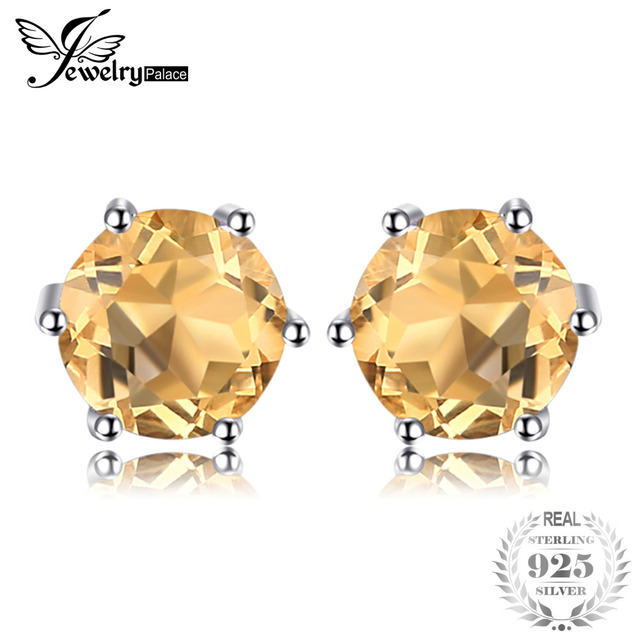 JewelryPalace Gemstone Natural Citrine Stud Earrings Pure Solid Genuine 925 Sterling Silver Brand Women Fine Jewelry Gift
