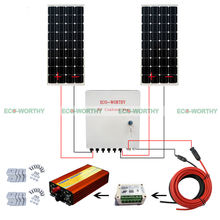 Off Grid System 200W Power Charge 100W Mono Solar Panel W/ Combiner Box