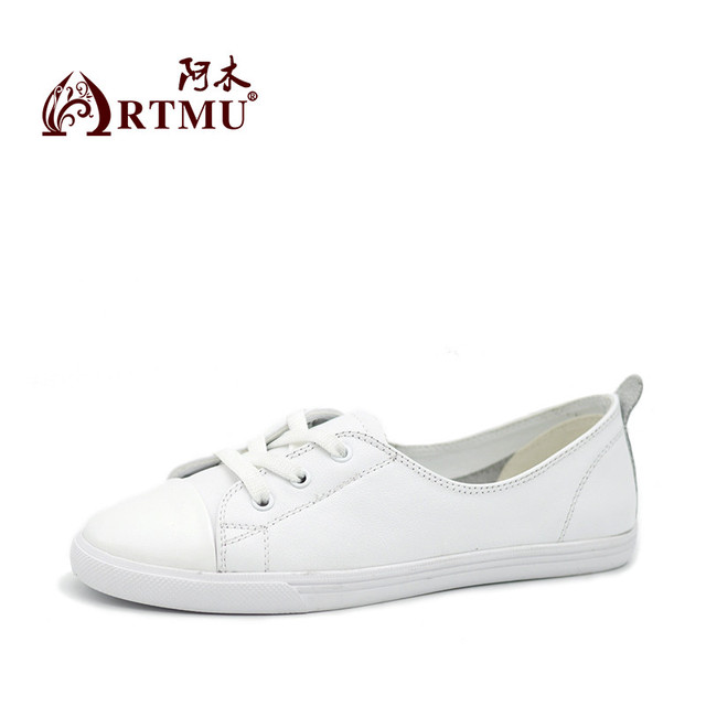 Artmu Black White Shoes Flat lace Up Women Shoes Handmade Cowhide Shoes Women's Vulcanize Shoes Genuine Leather zapatos mujer