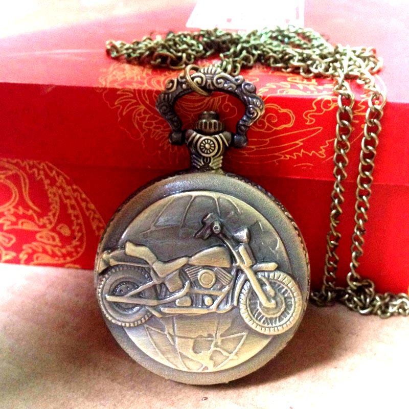 8065 Cool Motorcycle Embossed Vintage Pocket Watch Bronze Metal Men Chain Quartz pocket watch with necklace