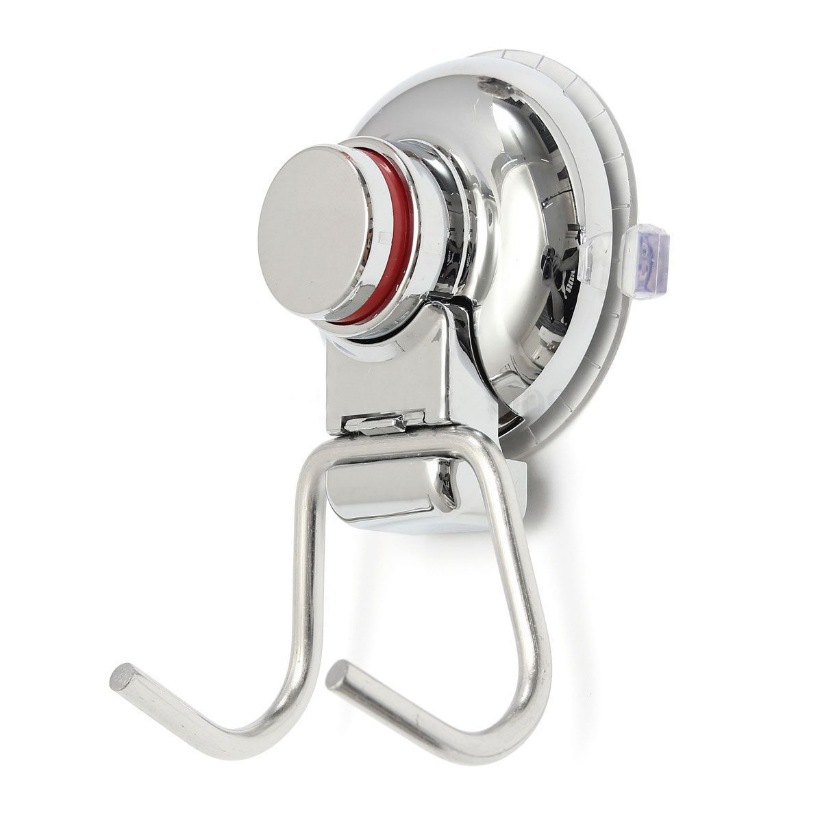 Bathroom Kitchen Stainless Steel Double Hook Strong Vacuum Suction Cup Hanger SilverBathroom Kitchen Stainless Steel Double Hook Strong Vacuum Suction Cup Hanger Silver