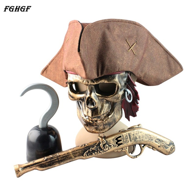 FGHGF Pirates of the Caribbean Mask Halloween Props Decorative Weapon Knife Pirate Gun Pirate Hook Cosplay Party Toys
