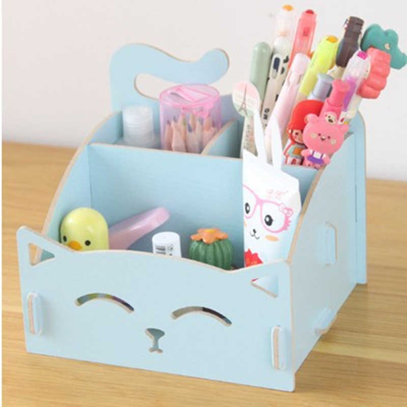 Cute cat pen holders Multifunctional storage Wooden cosmetic storage box/Memo box/Penholder gift office organizer School supplie