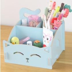 Милые держатели для ручек с кошкой, многофункциональная деревянная коробка для хранения косметики/коробка для заметок/держатель для ручек,...