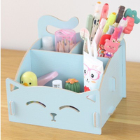 Cute cat pen holders Multifunctional storage Wooden cosmetic storage box/Memo box/Penholder gift office organizer School supplie|pen holder|pen holder box|multifunction pen holder -