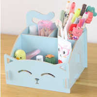 Cute cat pen holders Multifunctional storage Wooden cosmetic storage box/Memo box/Penholder gift office organizer School supplie