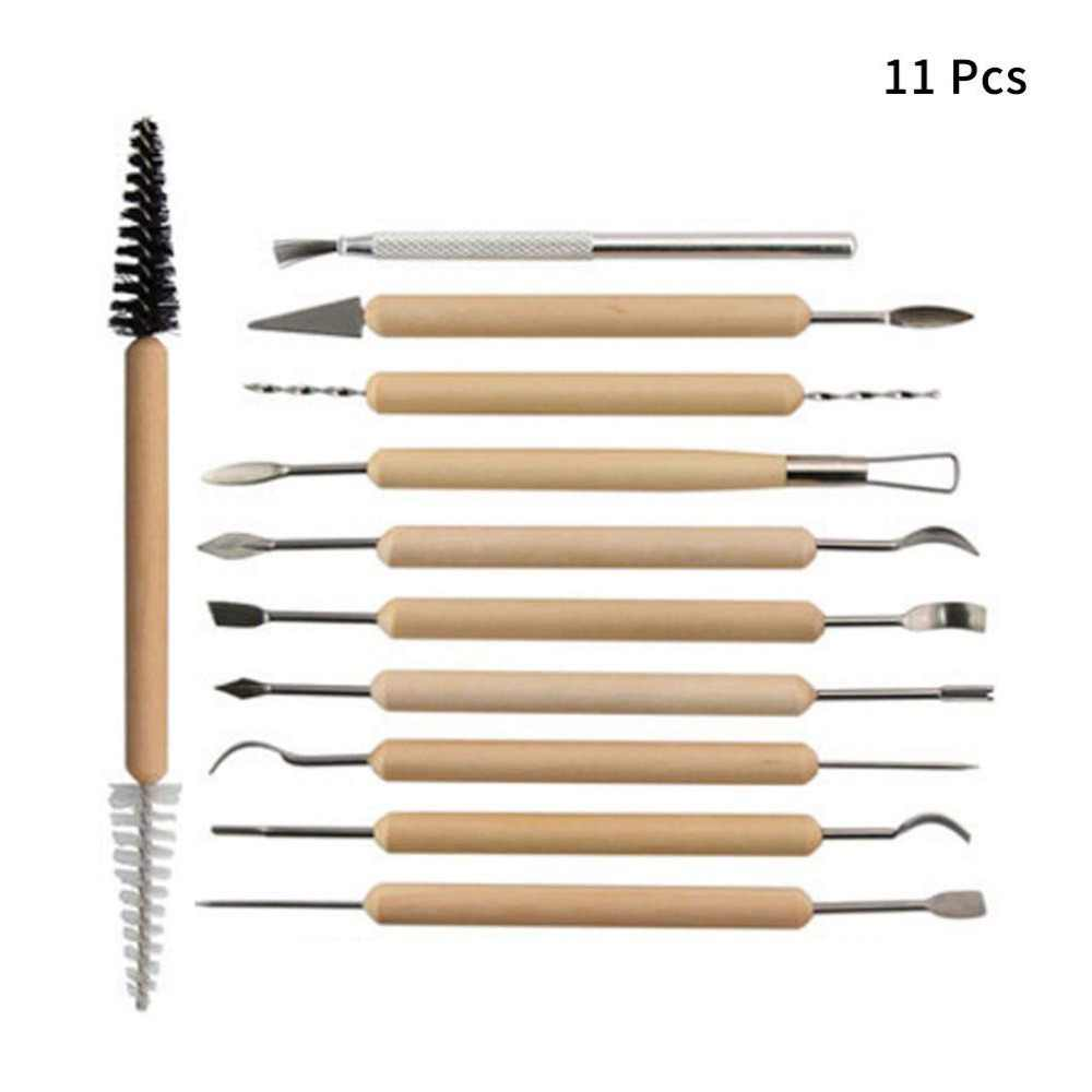 11 pcs Arts Crafts Clay Sculpting Tools Set Fimo Modeling Carving Tool kit Pottery & Ceramics Wooden Handle Modeling Clay Tools